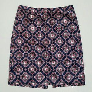 J. Crew Geometric Print  Pencil Skirt Size 8